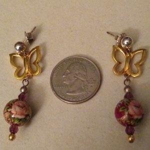 14GF two-tone Butterfly enamel earrings